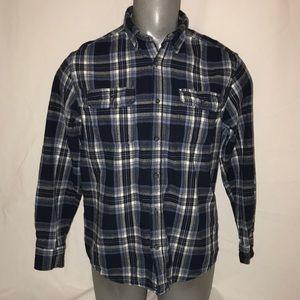 Blue plaid flannel style shirt sz L Men's cotton